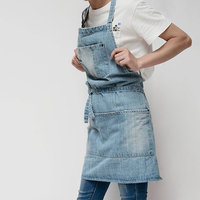 New Adjustable Cotton Denim Apron Dress Baking Work Clothing  Men Women Home Apron For Cafes Lounge Bars And Kitchens