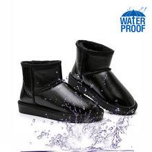 Gorąca sprzedaż śniegowce damskie wodoodporne oryginalne skórzane kostki 100% naturalne wełniane buty zimowe ciepłe kalosze plus 35-44