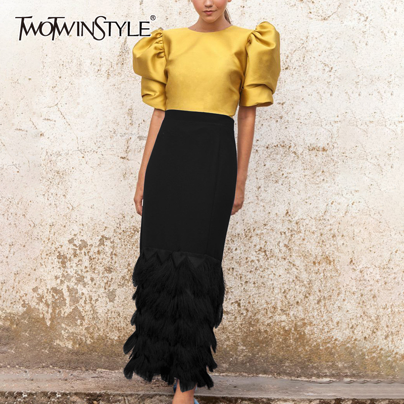TWOTWINSTYLE Vintage Women Two Piece Set O Neck Puff Short Sleeve Top High Waist Patchwork Tassel Suits Female Fashion Clothing