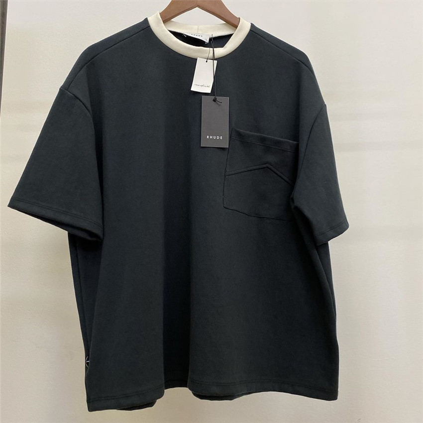 2020 Rhude T-shirt Men Women Casual T-shirts Black Beige O-Neck Rhude Tee 1:1 High Quality Cotton Tops Pocket Grunge Style