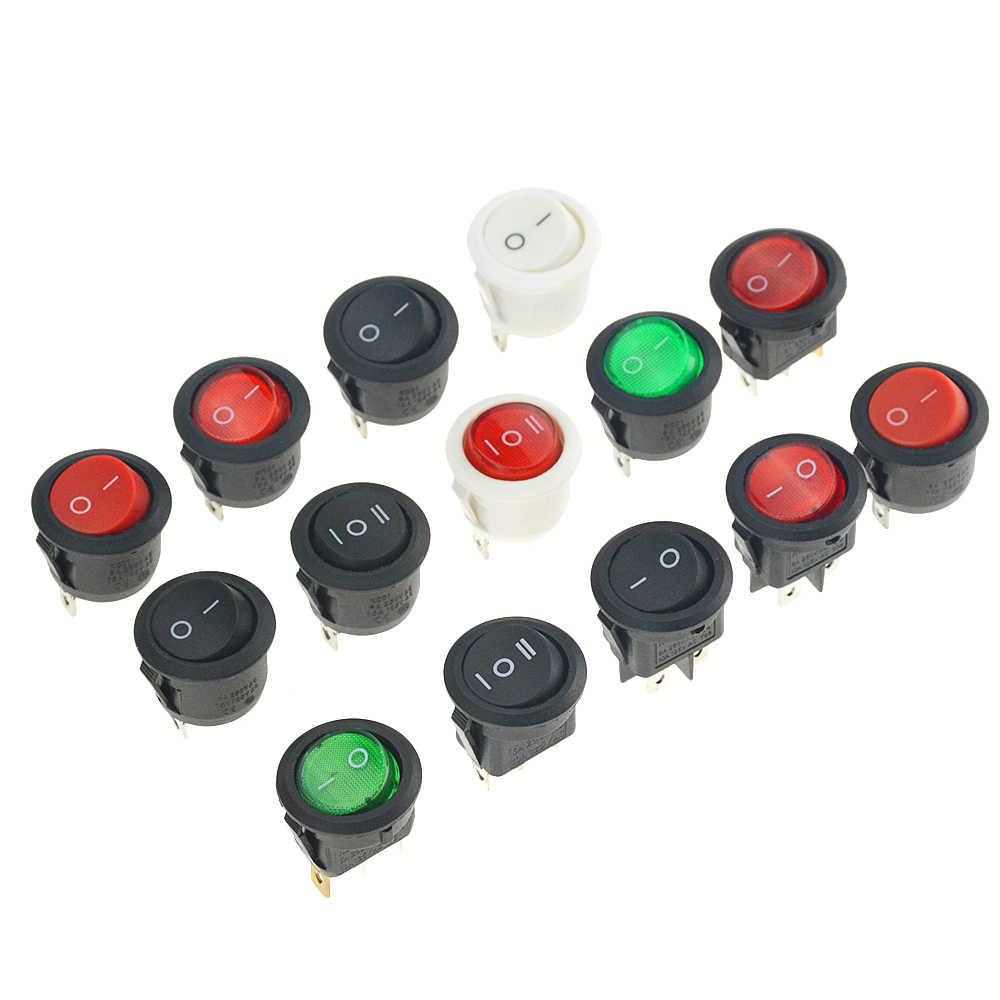 1 枚の on/オフ round rocker トグルスイッチ 6A/250VAC 20A/12VDC プラスチックプッシュボタンスイッチパネルオープニング 20 ミリメートル電源スイッチボタン