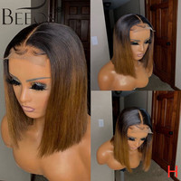 Beeos Closure Short Bob Ombre Colored Wigs 150% Lace Wig Brazilian Human Hair Wigs For Women 4×4 Lace Wig Remy Pre Plucked