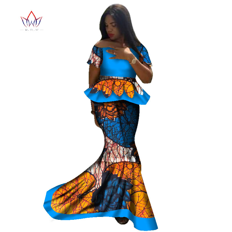 Africa Style Bazin Riche Dresses for Women Two Pieces Set Women Short Sleeves Tops and Long African Print Skirt Plus Size WY2293