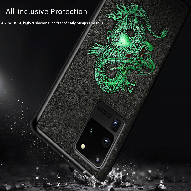 LANGSIDI Luxury Phone case For samsung s20 ultra plus s10 e Galaxy a50 a51 a80 note 10 animal Genuine leather shockproof cover