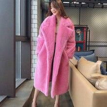 Faux Fur Coat Women 2020 Autumn Winter Elegant Cashmere Oversize Long Teddy Coat Plush Warm Overcoat Female