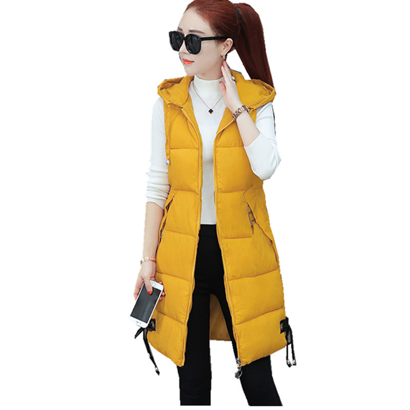 Large Sizes For Women Vest Winter Jacket Pocket Coat With Hood Warm Casual Cotton Quilted Vest Women's Slim Sleeveless Vest