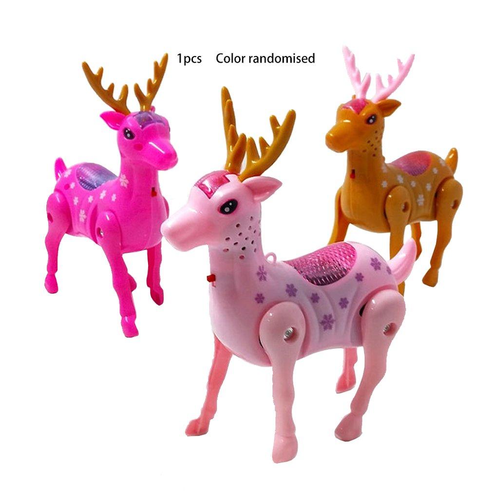 Electric Toy Walking Deer Toy Leash Deer Electric Deer Plastic Luminous Music Toy Leash Deer Pull Line Deer Toy