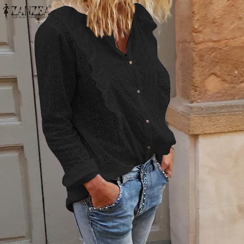 Vintage Embroidery Shirt ZANZEA Women Casual Long Sleeve Shirt Sexy Ladies Hollw Out Ruffles Tops Blusas Solid Loose Tunic 5XL