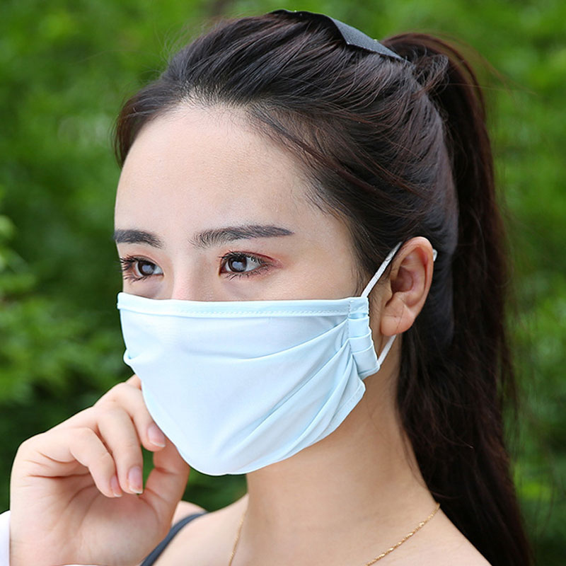 1PC Reusable Summer Ice Silk Face Mouth Masks Men Women Mouth Mask Windproof Washable Mask Solid Color Masks New Arrival