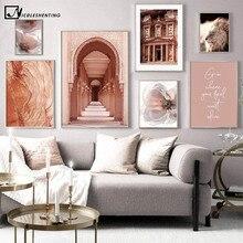 Lienzo de la mezquita islámica de Marruecos Hasán II, póster de arquitectura, Impresión de paisaje de viaje, imagen artística de pared, decoración del hogar