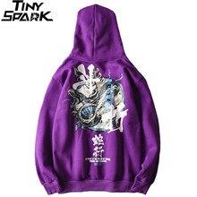 Hip Hop hommes sweat à capuche serpent chinois caractère sweat à capuche Streetwear 2019 automne hiver polaire violet pull coton Hipster
