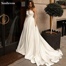 Smileven Satin Princess Wedding Dresses 2020 Strapless Lace Bride Gowns  Vestido De Noiva