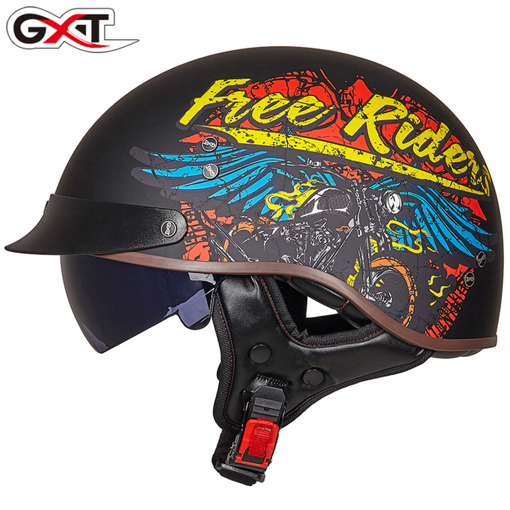 GXT MEN'S Motorcycle Helmet Half Face ABS Motorbike RETRO Helmet FEMAL WOMAN'S Electric Safety Double Lens Helmet Moto Casque