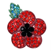 Poppy Brooch Crystal Badge Women Pin Clothes Accessories Commemorative Brooch Pin Fashion Dress Jacket Accessories(China)