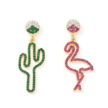 Latest European Style New Earrings Womens Asymmetric Colorful Rhinestone Cactus Flamingo S925 Silver Needle For Ladies