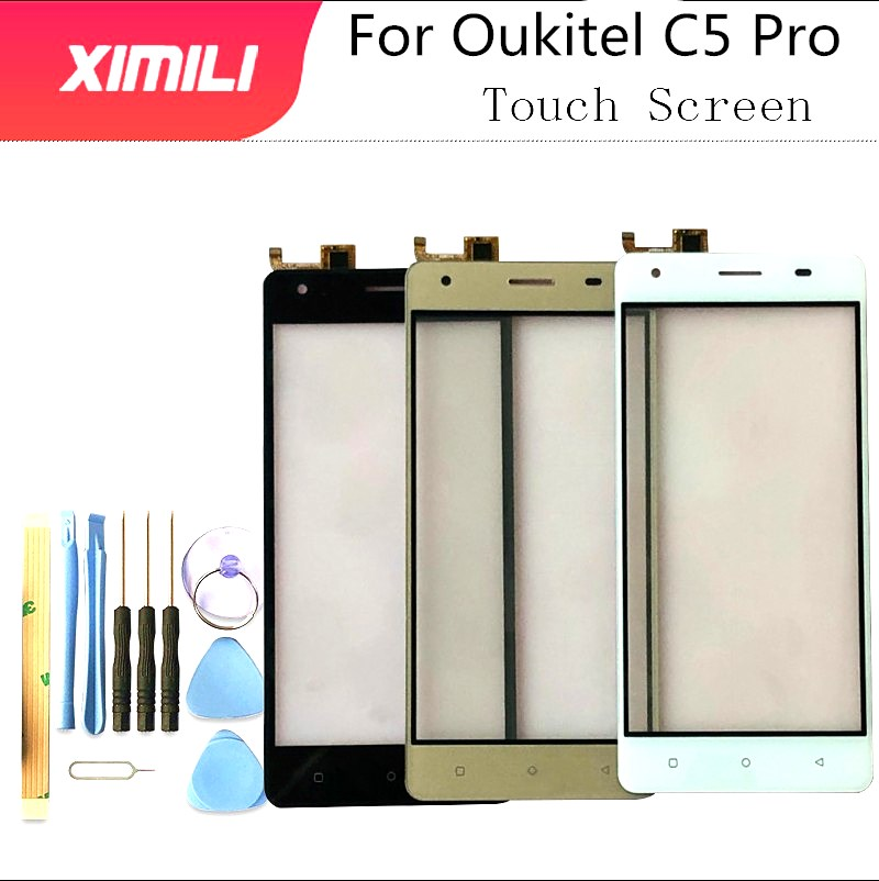 5.0 Inch Tested Well 100% FOR Oukitel C5 Pro Touch Screen Original Glass Panel Touch Screen For C5 Pro + Tools+Adhesive