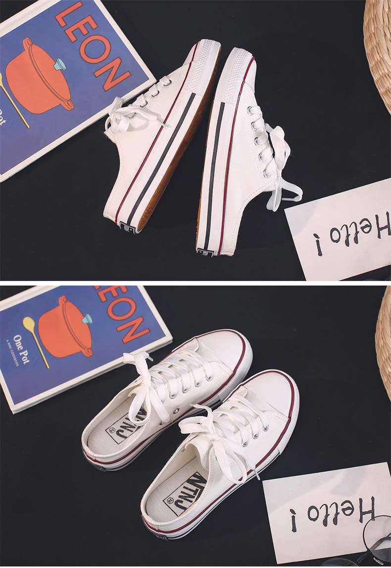 Casual half-drag canvas shoes woman 2019 new fashion solid sneakers women vulcanized shoes lace-up no heel lazy shoes flats (18)