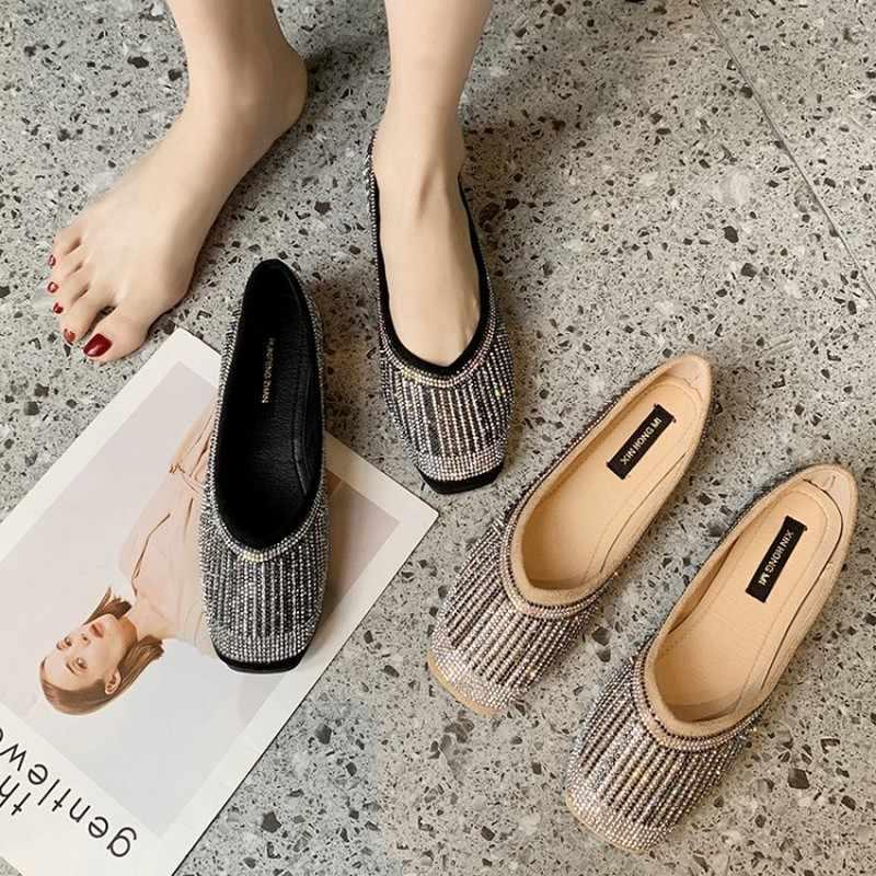 Kare ayak kadın elmas sonbahar bahar bling sequins tek ayakkabı glitter pembe taklidi loafer'lar çin elbise damla J16-37