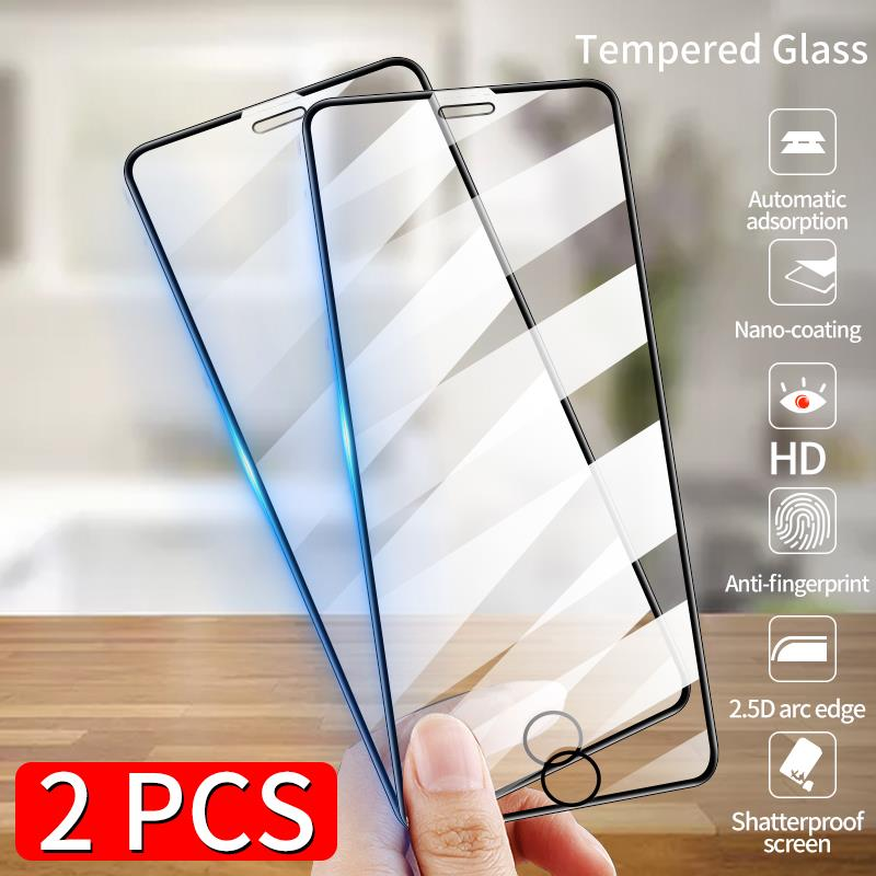 2pcs Full Cover Protective Glass On The For iPhone SE 11 Pro Max X Xs Tempered Screen Protector on iPhone 8 7 6 6s Plus XR Glass