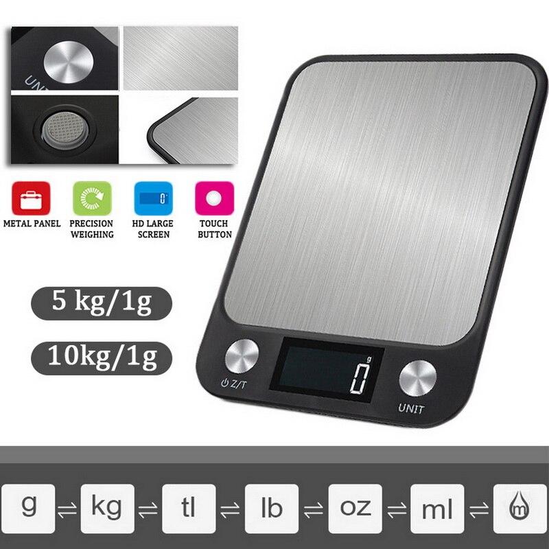 רב-פונקציה מזון דיגיטלי LCD תצוגת היקף מטבח נירוסטה במשקל מזון בישול כלים איזון 5/10kg/1g
