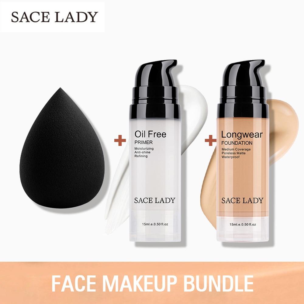 SACE LADY Professional Makeup Set Matte Foundation Primer Base Make Up Kit Oil-control Pores Liquid Cream Brand Cosmetic Puff