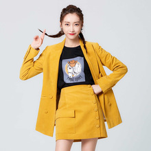 The Same Yellow Suit Coat Goddess of Temperament Hong Kong and Ancient In Autumn 2019 Jacket Women