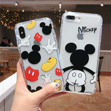 купить Transparent phone case for iphone 7 6S 8 6 Plus soft tpu For iPhone xr x xs xsmax cartoon painting phone Cover for iphone 6S дешево