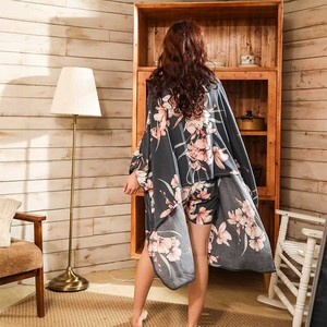 Image 5 - Ladies Floral Printed Deep Grey Elegant Sleepwear Women Wide Sleeve Loose 4Pcs Pajamas Set Soft Homewear Casual Wear For Spring