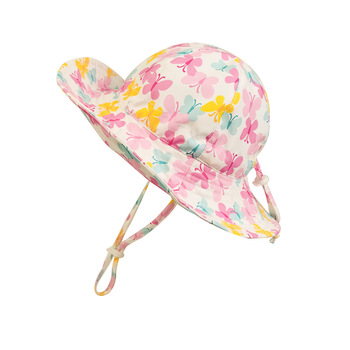 bucket hat women spring panama cap sun summer beach wide brim climbing holiday outdoor accessory Summer Hat Girl Sun Beach Pink Panama Bucket Hats With String Wide Brim Butterfly Breathable Holiday Outdoor Accessory Toddlers