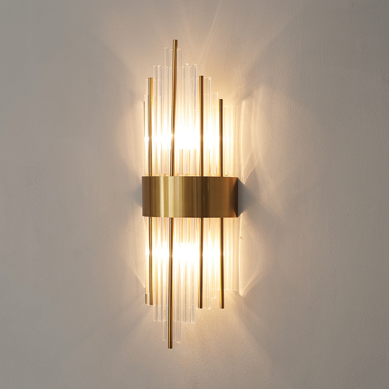 American European post modern golden metal crystal glass tube wall light lamp LED for villa hotel foyer living room wall sconce|LED Indoor Wall Lamps| |  - title=