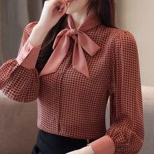 Camisa de chiffon da xadrez das mulheres da forma da camisa do escritório do laço das camisas da luva longa das mulheres