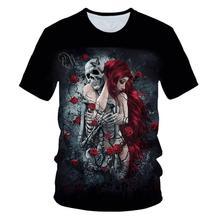 Skull beauty rock cool 3D T-shirt men's motorcycle punk 3D printed T-shirt men's clothes t-shirt summer top men's trendy Gothic