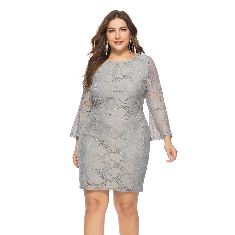 Amazon 2019 Europe And America Large Size Dress Autumn Long Sleeve Lace Gray Lace Formal Dress