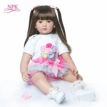 60cm big size reborn toddler princess high quality Silicone vinyl adorable Lifelike Baby Bonecas girl bebes doll menina