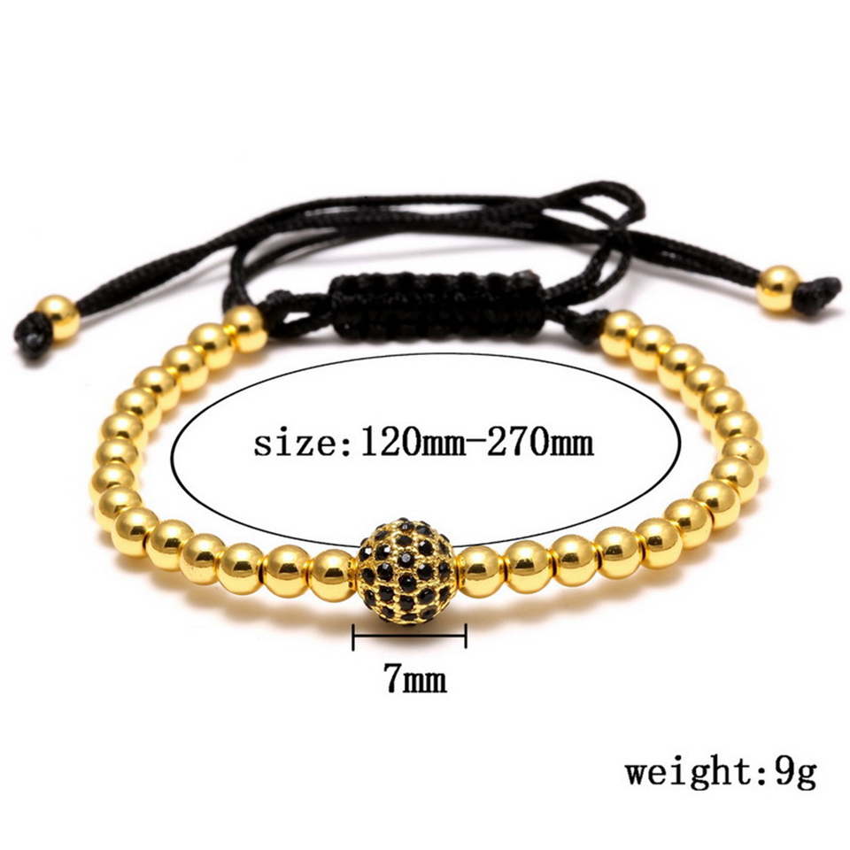 Copper Bead Woven Bracelet Hiphop Rock Street Culture Copper Alloy Bead Woven Chain Bracelet Men Fashion Trendy Jewelry Gift 1