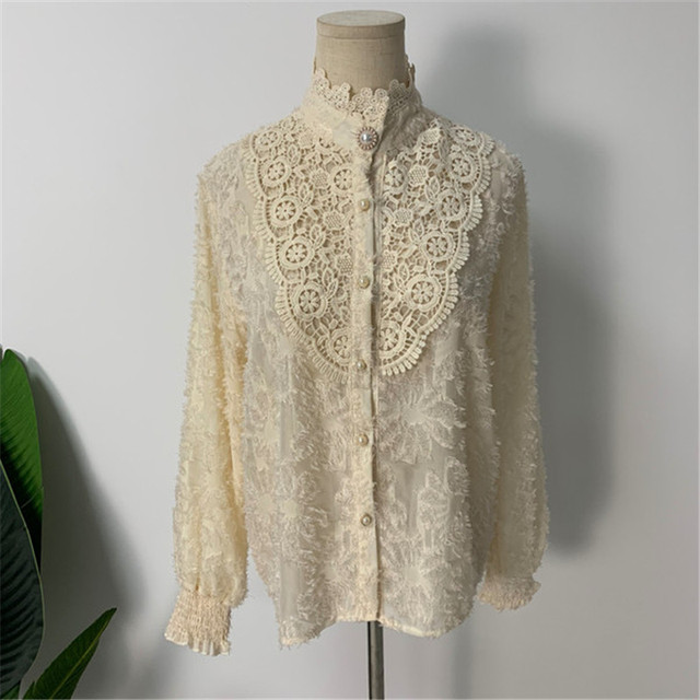 Women Crochet Lace Blouses Women Korean Ladies Solid Color Stand Collar Long Sleeve Blusa Vintage Blouse Spring Shirt Tops 3