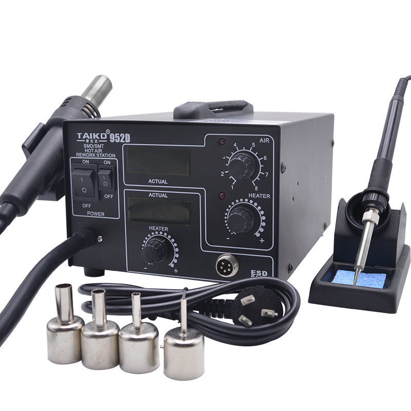 TAIKD 952D SMD Intelligent Hot Air Rework Soldering Station 2 In 1 Welding Station Combination Hot Air Gun