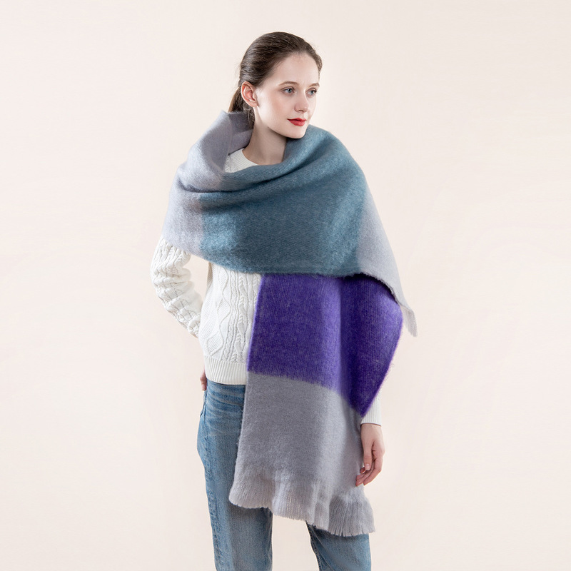 2020 New Autumn and Winter Color Matching Mohair Scarf Women European and American Imitation Cashmere Warm Scarf Shawl