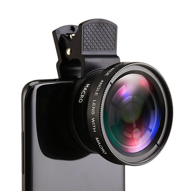 2 IN 1 Lens Universal Clip 37mm Mobile Phone Lens Professional 0.45x 49uv Super Wide-Angle + Macro HD Lens For iPhone Android 5