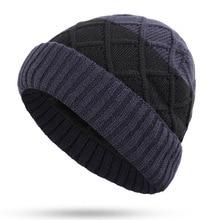 Winter Hat, Mens Wool Lattice Headgear, Autumn and Ear Protective Knitted Korean Cotton Headgear