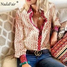 Nadafair Floral Vintage Satin Blouse Women 2019 Autumn Casua