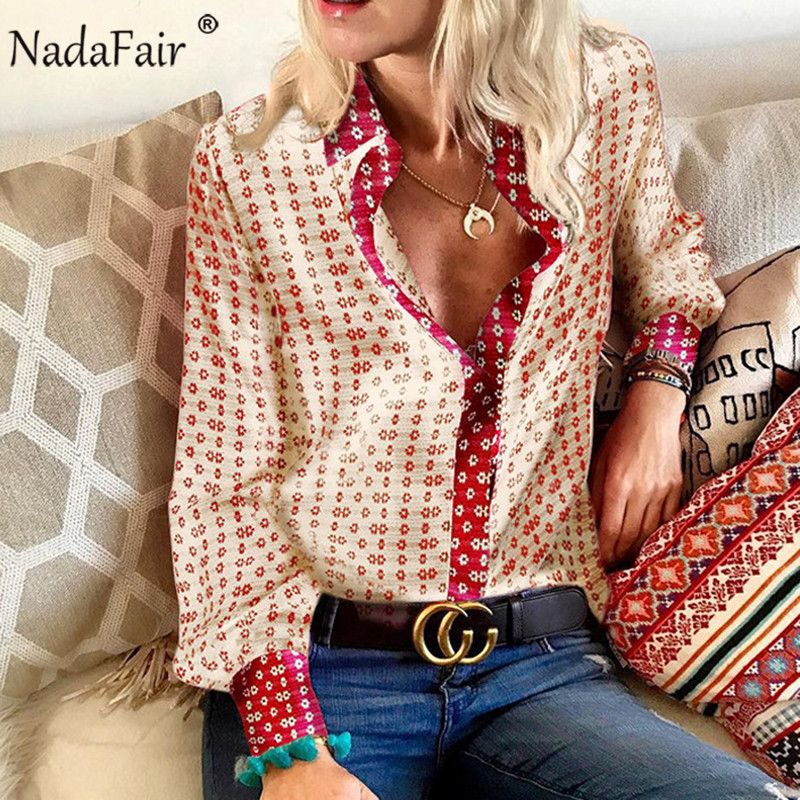 Nadafair Floral Vintage Satin Blouse Women 2019 Autumn Casual Tops Long Sleeve Elegant Plus Size Office Silk Blous Shirts