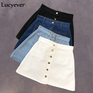 Image 5 - Lucyever Denim women mini skirt summer vintage high waist Korean single button pockets blue jeans A line ladies saia jupe femme