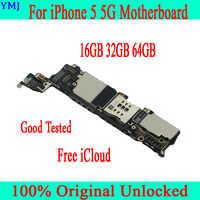 Livre icloud para iphone 5 placa-mãe com chips completos, original desbloqueado para iphone 5 5g mainboard com sistema operacional, 16 gb 32 gb 64 gb