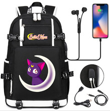Torba podróżna Sailor Moon canvas torba podróżna usb torba podróżna na ramię Sailor Mercury plecak na laptopa plecaki tanie tanio AXIVY Oxford Tłoczenie Unisex Miękka Poniżej 20 litr Komputer pośrednia Wewnętrzna kieszeń Wnętrze slot kieszeń