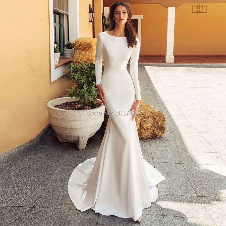 Satin Mermaid Wedding Dresses Scoop Long Sleeves Lace Appliques Bridal Gowns Vestido De Noiva Court Train Button Illusion