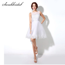 Robe De bal De promo De forme trapèze, sans manches, les perles blanches, mode, les applications, élégantes robe courte, SD180