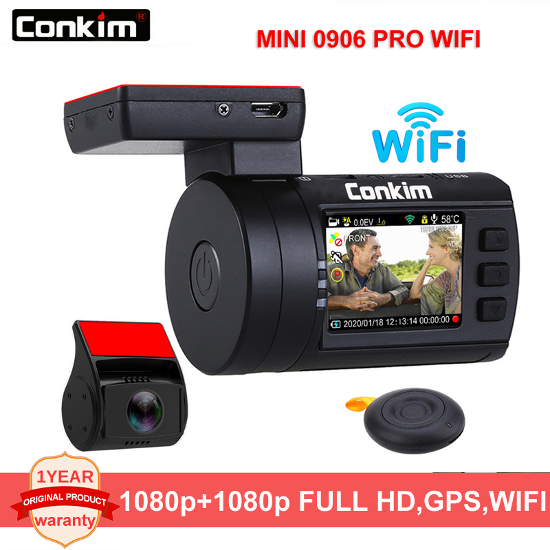 Conkim <font><b>Car</b></font> <font><b>DVR</b></font> <font><b>With</b></font> <font><b>Two</b></font> <font><b>Camera</b></font> GPS <font><b>Car</b></font> Video Recorder 1080P FHD Novatek 96663 Dual Lens Hidden Dash <font><b>Camera</b></font> Mini 0906 PRO WIFI image