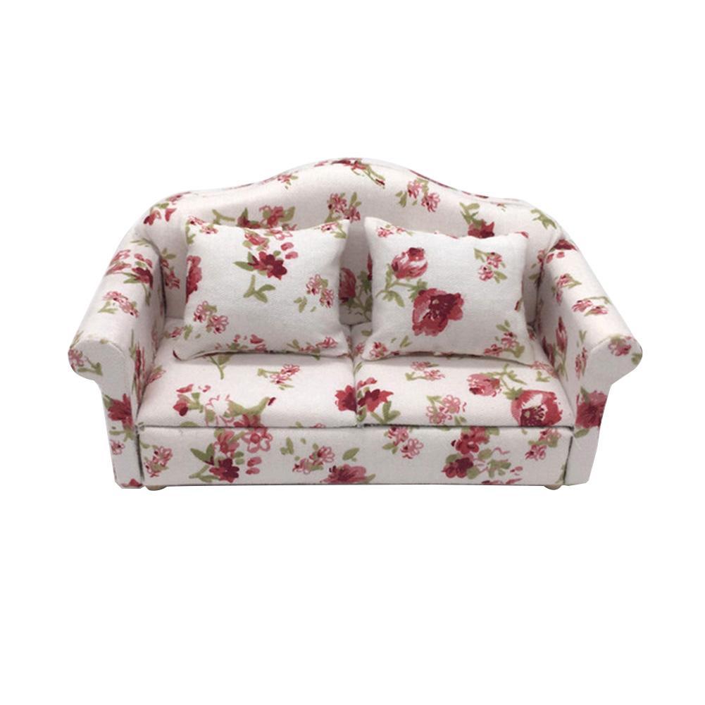 1/12 Mini Floral Print Sofa Cushion Model Dollhouse Room Decor Photography Prop Miniature Home Decorative Ornaments Kids Gifts