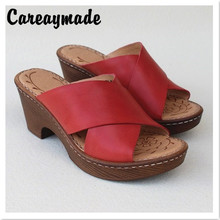 Careaymade-Head Layer Cowhide Hand-made-sewn thick high heel fishmouth sandals summer cowhide Comfortable slippers,3 colors